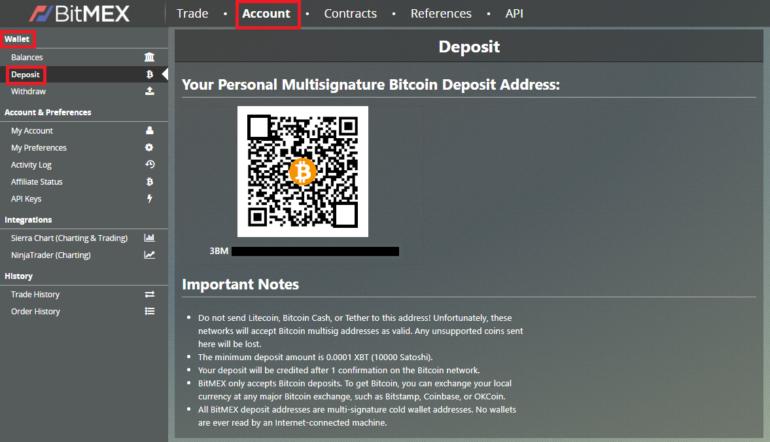 Funde sua conta no BitMex