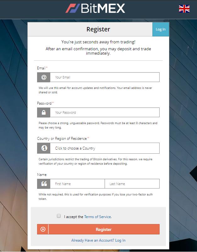 Register at BitMex